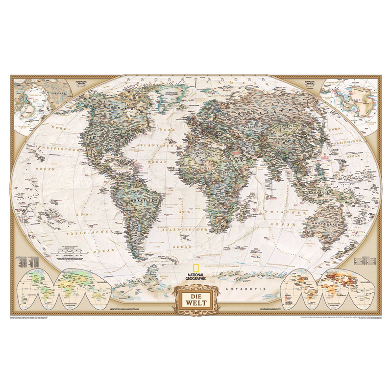 """Poster NATIONAL GEOGRAPHIC """"Executive World Map, politisch ..."""